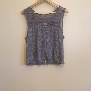 Gray floral laced cotton crop tank.